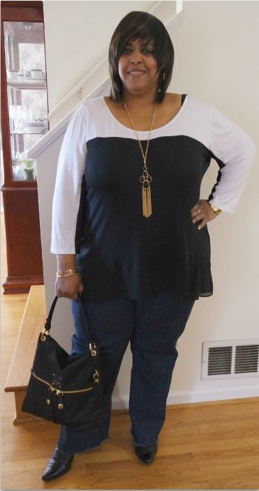 robincharmagne-wearing-black-and-white-plus-size-top